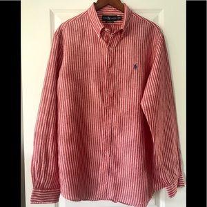 Ralph Lauren Custom Fit   red striped Linen shirt